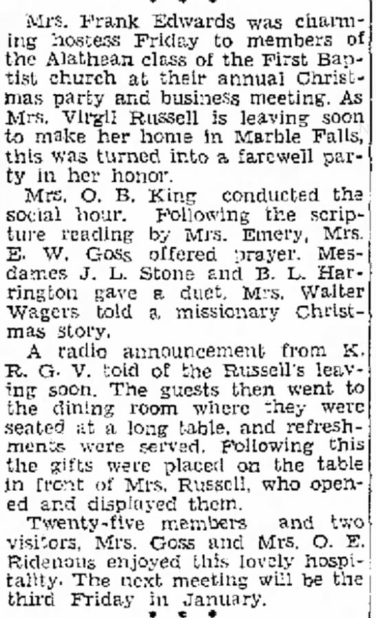 - Mrs. Prank Edwards was charming hostess Friday...