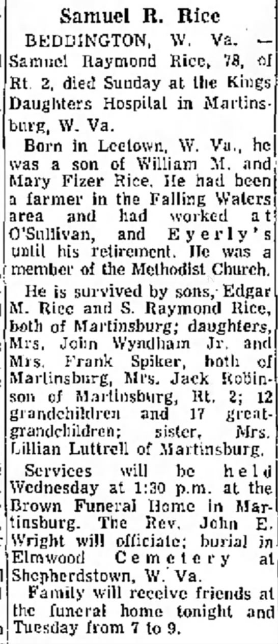 Franks Spiker.Sr's wife's brother obit. Daily Mail Hagerstown, MD Sep 22 1969    - l y 740 Hospita was Ada J o r a Samuel R. Rice...