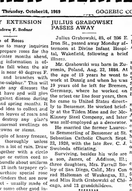 Grandpa Julius Obituary - Thrusday, OcloberlS, 1969 GOGEBIC EXTENSION...