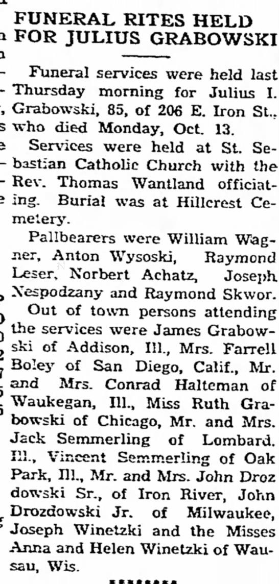 Julius Grabowski Funeral - FUNERAL RITES HELD FOR JULIUS GRABOWSKI Funeral...