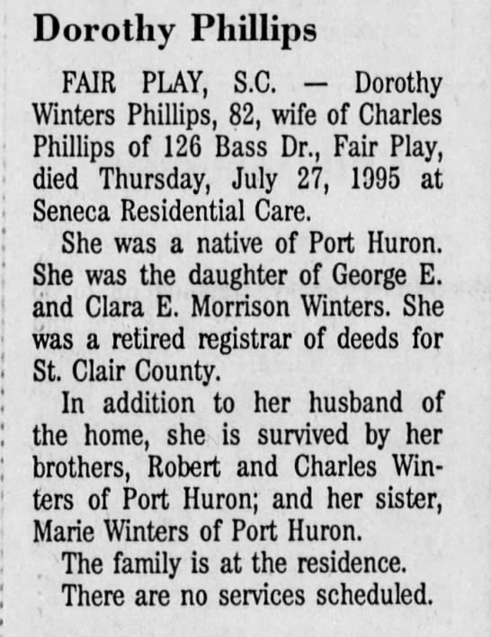 1995-07-28 Dorothy Winters Phillips -