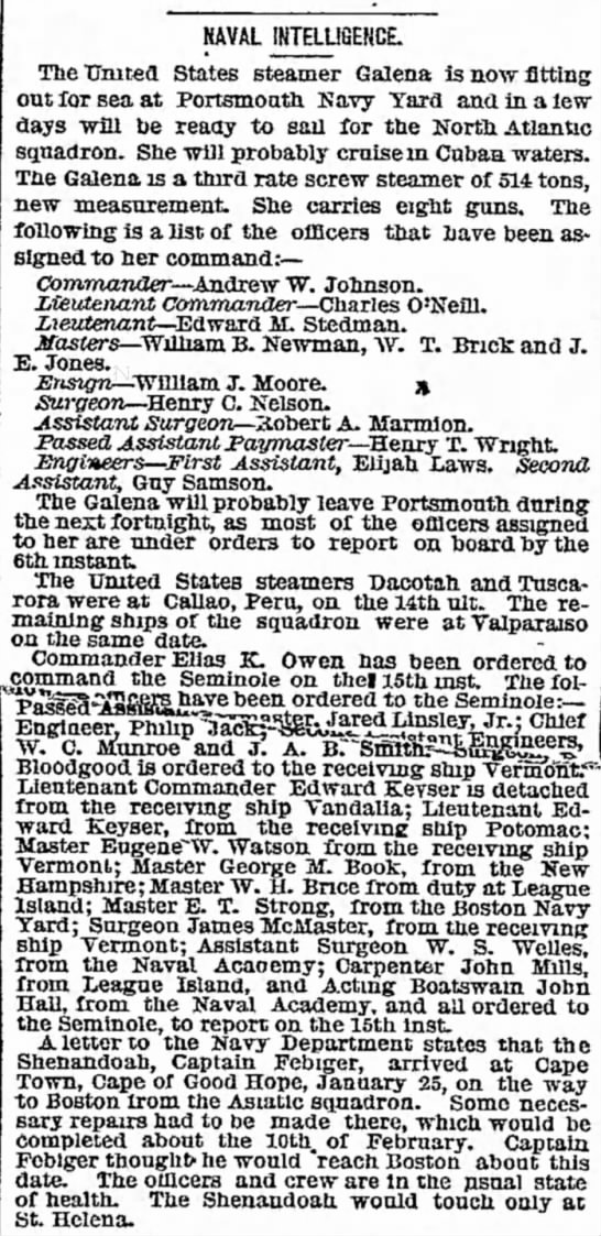 Edward M. Stedman Lieutenant on Galena New York Herald 2 Apr 1869 - statement detectives account appeared of had...