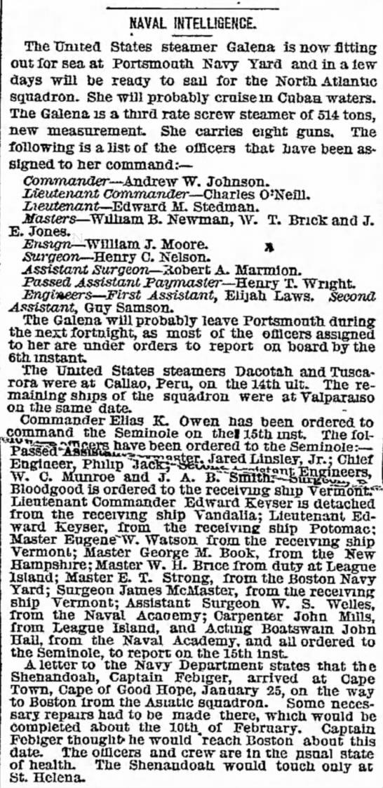 Edward M. Stedman Lieutenant on Galena New York Herald 2 Apr 1869 -
