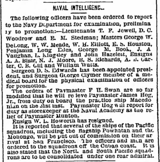 Edward M. Stedman physical for promotion The New York Herald 6 Apr 1869 -