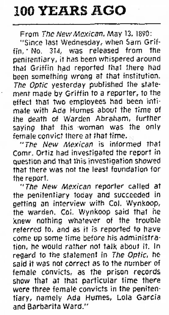 Ada Humes - time in prison The Santa Fe New Mexican (Santa Fe, New Mexico) 13 May 1990, Sun Page 10 -