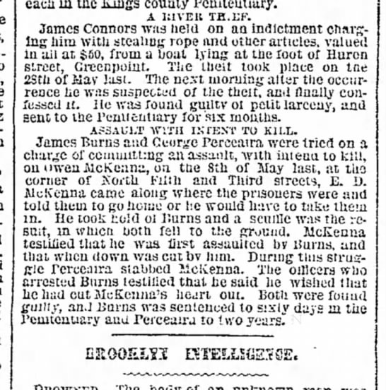 Owen McK NYT 1 Jul 1869 - for New Island. Tae street, to ap- Jacob...