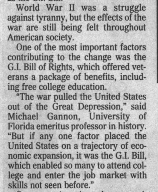 G.I. Bill helped lead economic growth after the war -