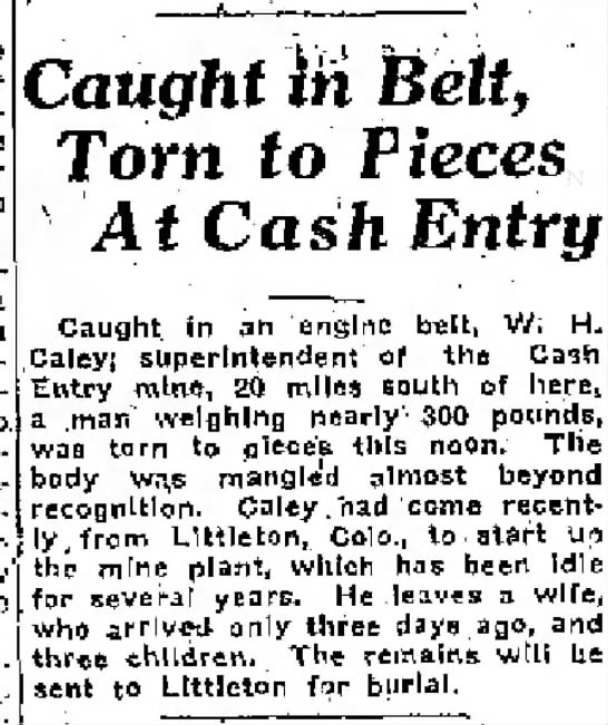 Caught in Belt, Torn to Pieces, At Cash Entry -