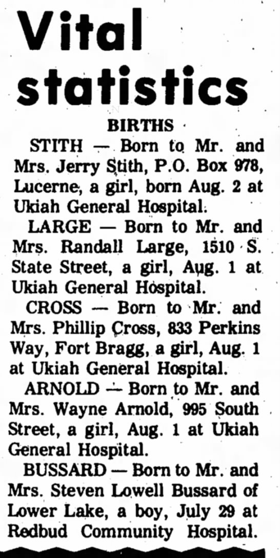 Arnold birth ann 1974 -