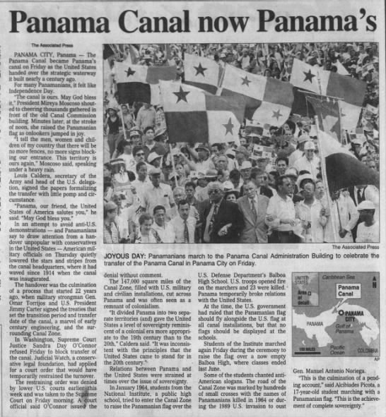 United States transfers ownership of the Panama Canal to Panama -