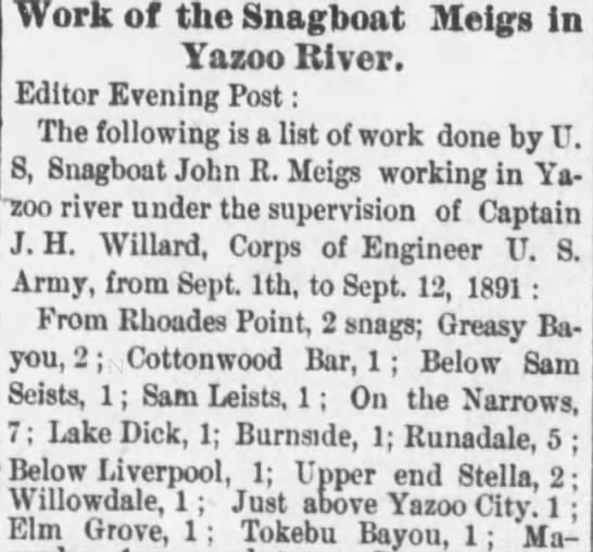 Sam Leist article in the Vicksburg Evening Post 16 Sep 1891 -