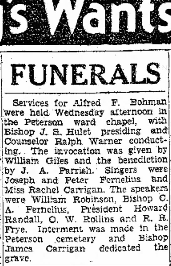 1932 Nov 3 Alfred E. Bohman funeral - of a Services for Alfred F. Bohman were held...