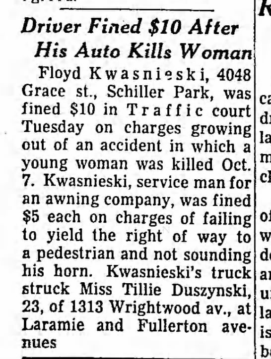 Tillie3 - Driver Fined $10 After His Auto Kills Woman...