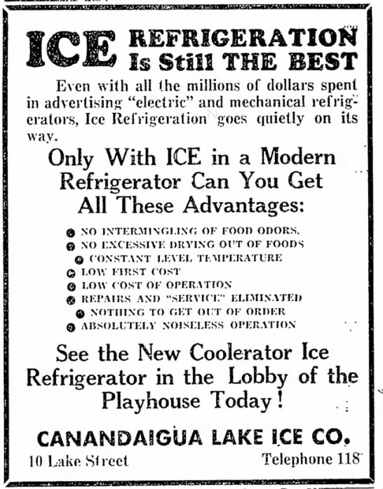 Great Canandaigua Ad for Ice-Refrigeraion instead of Electric -- 1935 -