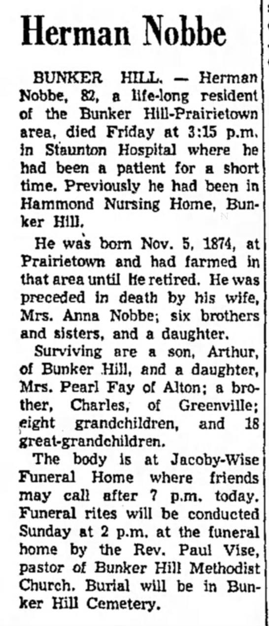 1956 Alton Evening Telegraph-obituary-Herman Nobbe husband