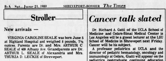 Caroline, Stoller birth announcement 6/21/80 - Newspapers com
