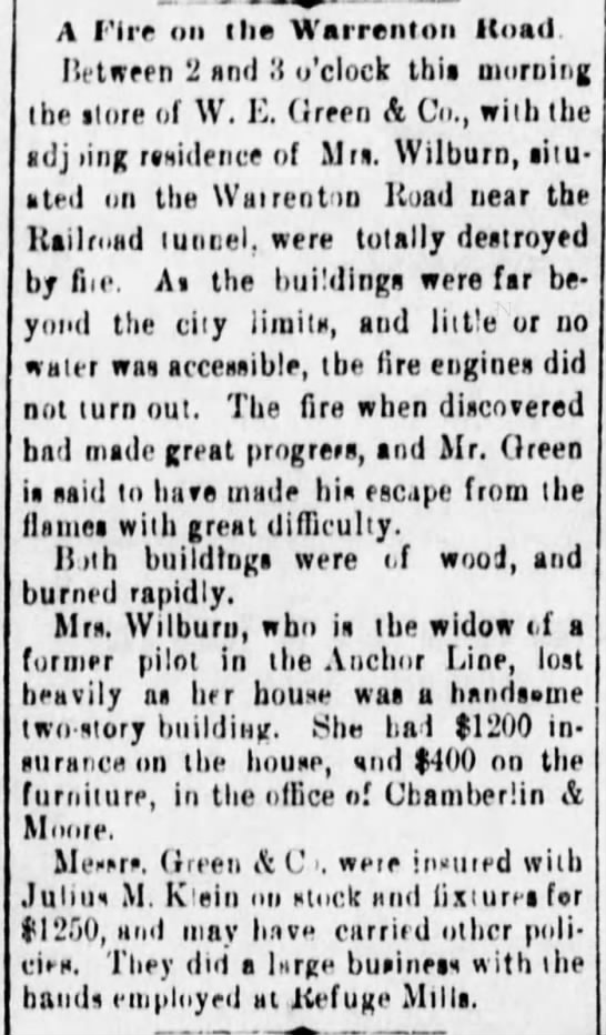 A Fire On Warrenton Rod - Vicksburg Evening Post 29 Dec 1886 pg 4 -