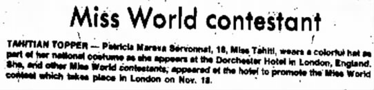 15_November_1976_The_Daily_Mail_Hagerstown, Maryland - Miss World contestant