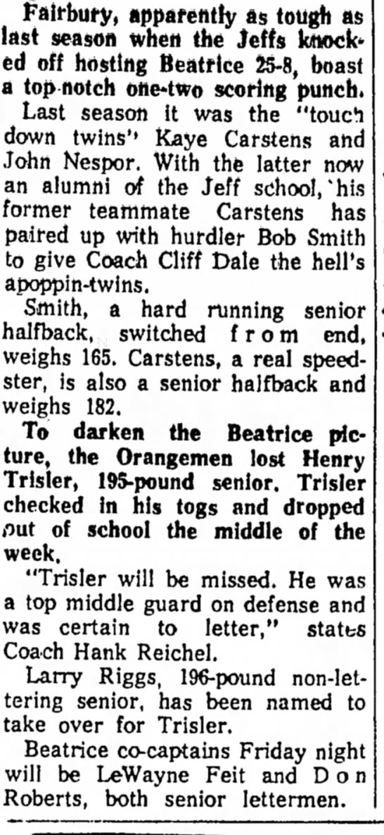 Henry Trisler The Beatrice Daily Sun 27 SEpt 1962 -