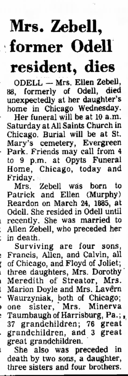 Allen's wife passes - Daily Leader, Sep 27, 1973, pg 14 -