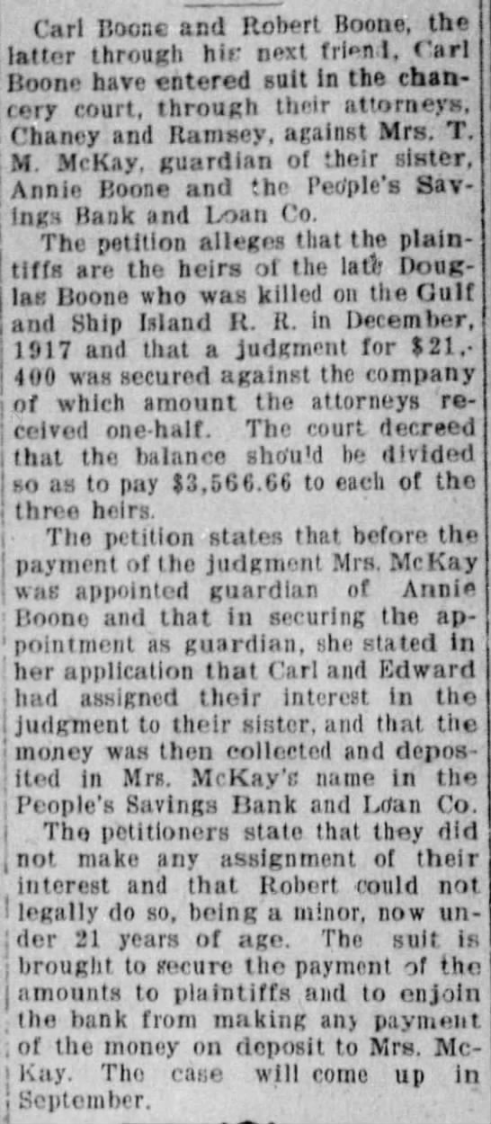 law suit Carl and Robert Boone against Mrs. T J (Lula) McKay -