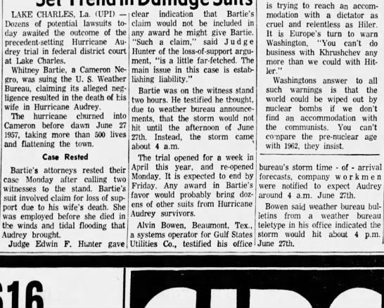 hurricane Audrey lawsuit 1962 -