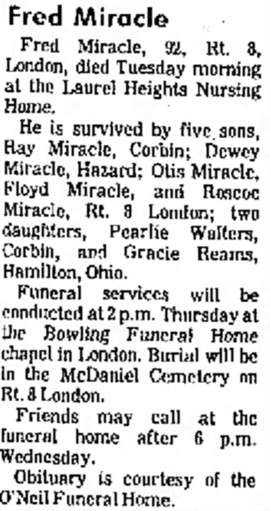 Fred Miracle Obit