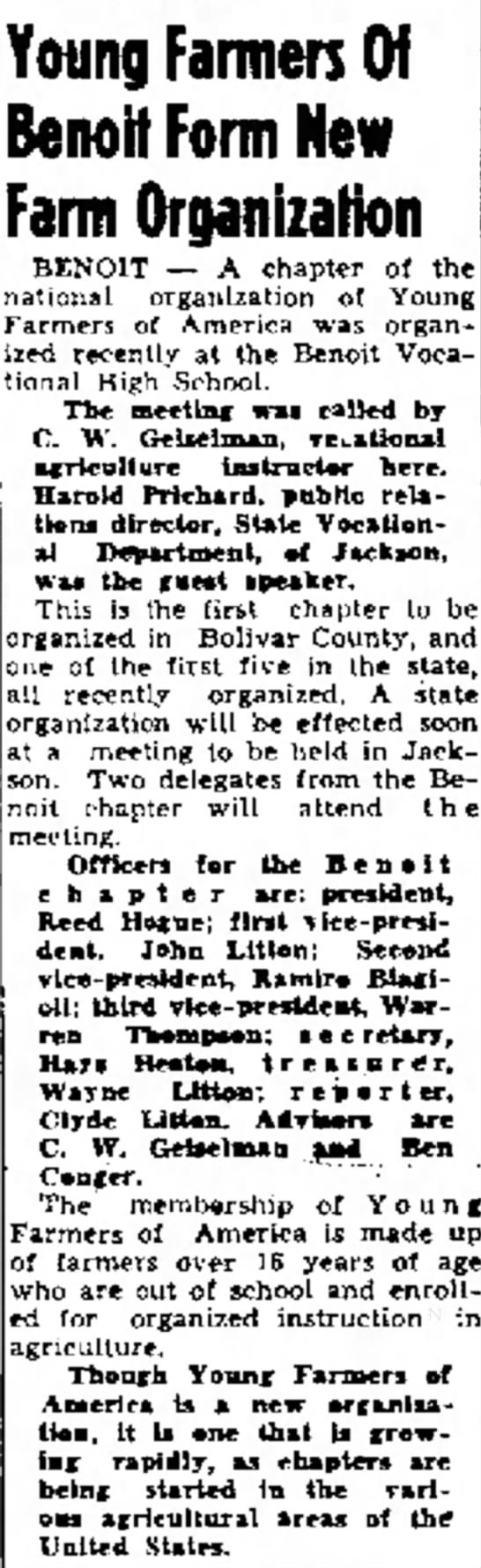 30 Sep 1949 The Delta Democrat Times Greenville MS - vote BENO1T -- A chapter of the of Young until...