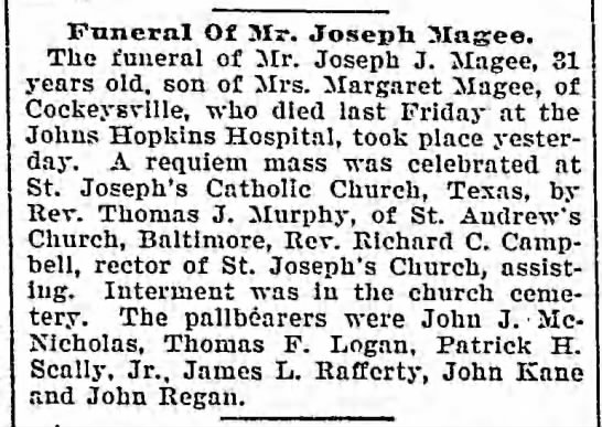 Magee funeral, Patrick H Scally pallbearer 1902 -