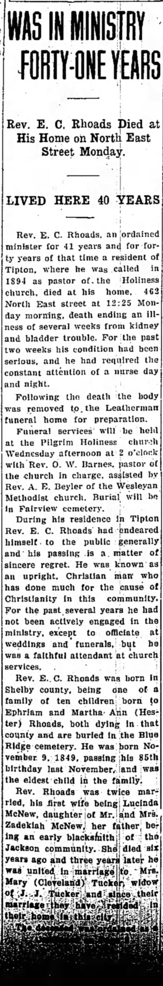 Tipton Tribune, Jan. 14, 1935 pg 1 -