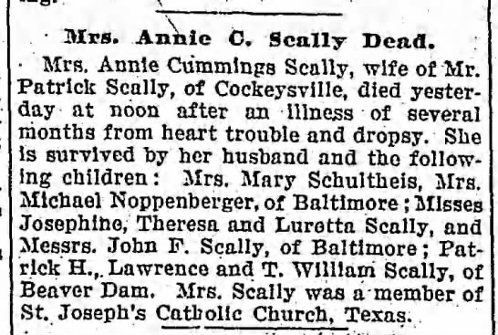 Annie Cummings Scally obituary 1906 -
