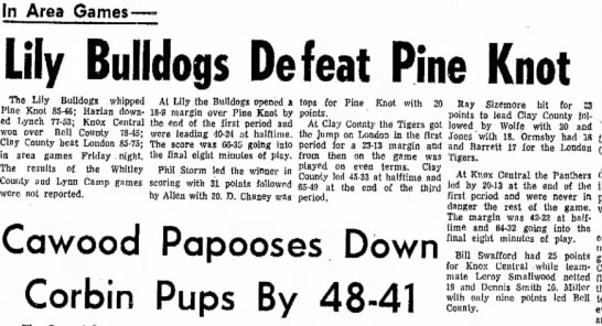 Swafford Bill Knox Central 2 Feb 1969 - In Area Games- j Lily Bulldogs Defeat Pine...