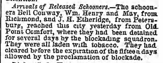 Arrival of Released Schooners, The Philadelphia Inquirer, May 28, 1861, page 1 -