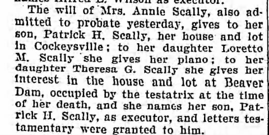Will of Annie Scally 1906 -