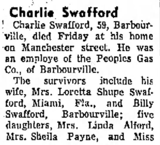 Charlie Swafford Obituary, 19 October 1969 -
