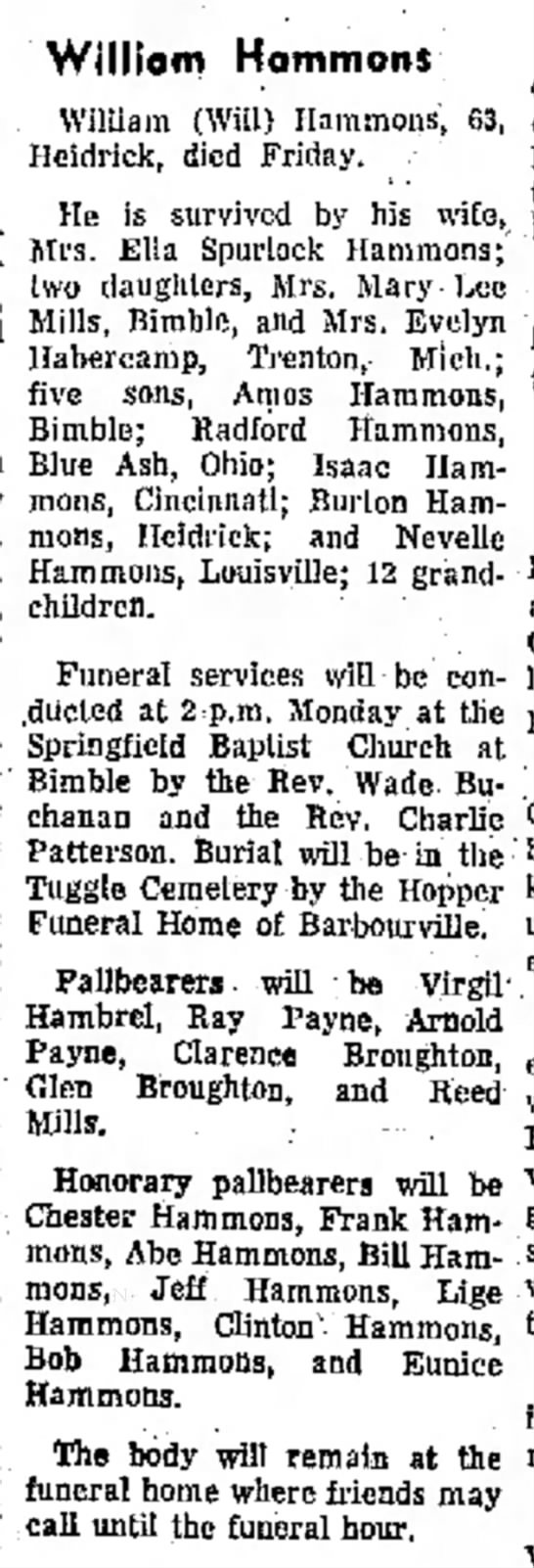 William will Hammons of Heidrick obit 21 Dec 1969 born 1906 -