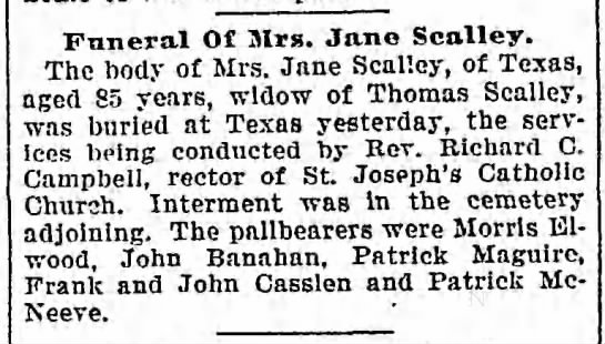 Jane Scally funeral 11 Apr 1900 -