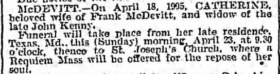 Catherine Kane Kenny McDevitt died 18 Apr 1905 -