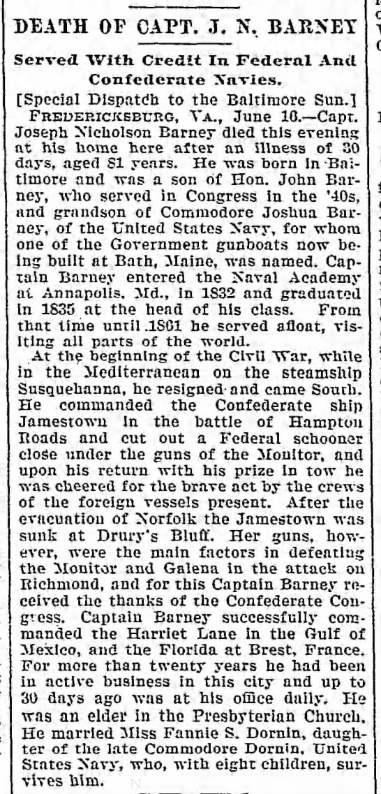 Death of Capt. J. N. Barney, The Baltimore Sun (Baltimore, Maryland) June 17, 1899, page 9 -