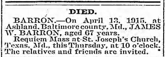 James W Barron 13 Apr 1915 -