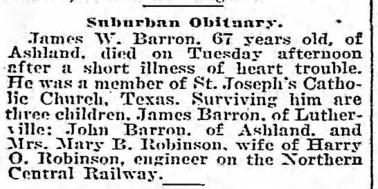 James W Barron 67 years died 13 Apr 1915 -