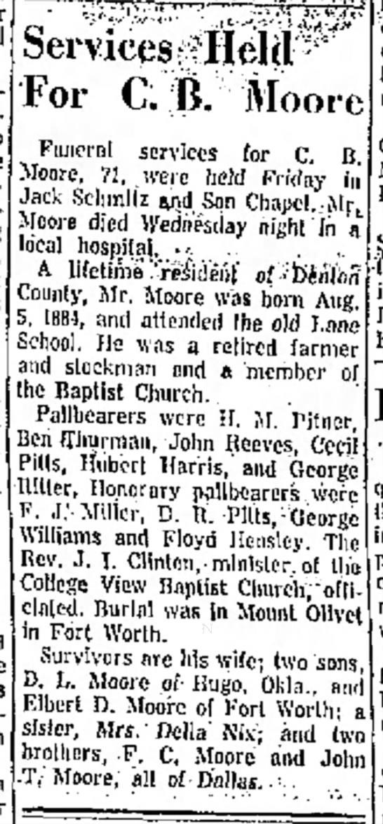 C.B. Moore 1884-1956 Obituary -