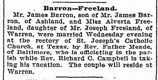 Barron - Freeland wedding 6 Aug 1902 -