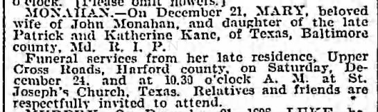 Mary Kane Monahan died 21 Dec 1898 -