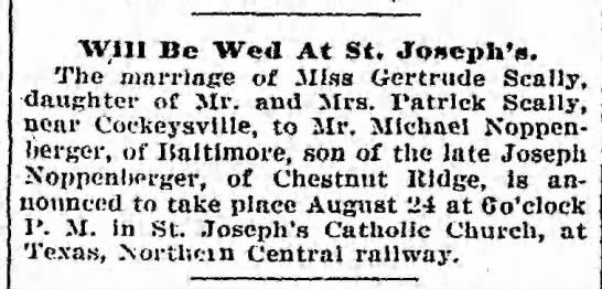 Scally-Noppenberger wedding 1904 -
