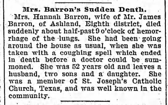 Hannah Barron died 4 Dec 1900 -