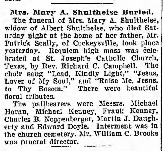 Mary Scally Shultheise buried 9 Oct 1906 -