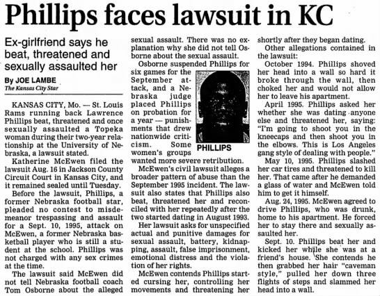 1996 Kate McEwen lawsuit against Lawrence Phillips -