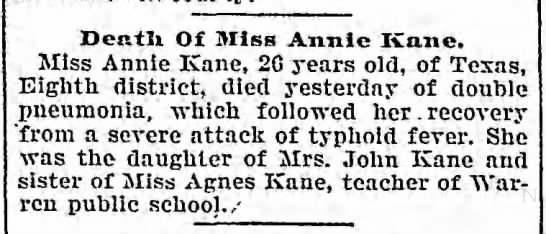 Death of Annie Kane 1900 -