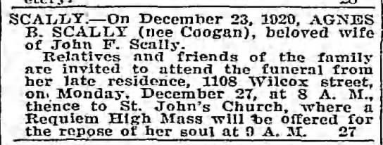 Agnes Coogan Scally died 23 Dec 1920 -